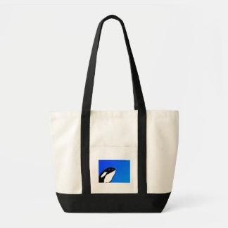 Orca Killer Whale Spy Hops on a Blue Starry Sky Bag
