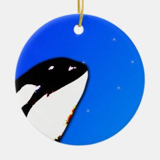 Orca Killer Whale Spy Hops on a Blue Starry Sky Ceramic Ornament