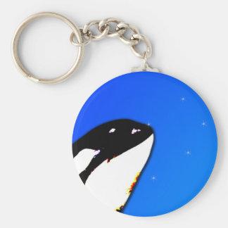 Orca Killer Whale Spy Hops on a Blue Starry Sky Keychain