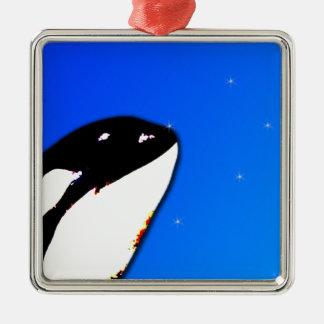Orca Killer Whale Spy Hops on a Blue Starry Sky Metal Ornament