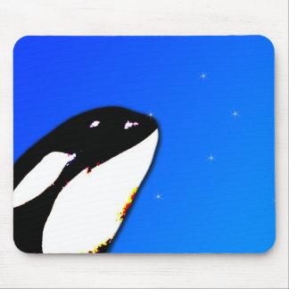 Orca Killer Whale Spy Hops on a Blue Starry Sky Mouse Pad