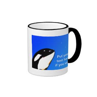 Orca Killer Whale Spy Hops on a Blue Starry Sky Ringer Coffee Mug