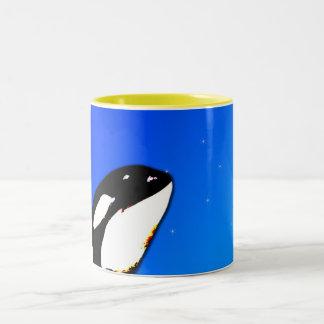 Orca Killer Whale Spy Hops on a Blue Starry Sky Two-Tone Coffee Mug