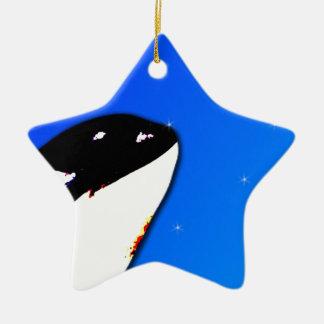 Orca Killer Whale Spy Hops on a Blue Starry Sky Christmas Ornaments