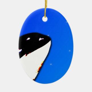 Orca Killer Whale Spy Hops on a Blue Starry Sky Christmas Ornament