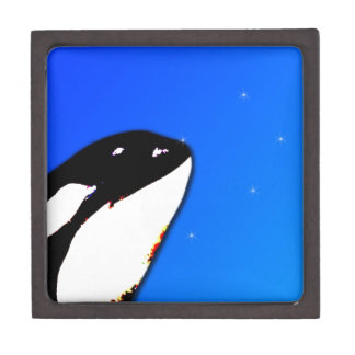 Orca Killer Whale Spy Hops on a Blue Starry Sky Premium Jewelry Box