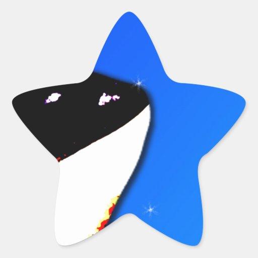 Orca Killer Whale Spy Hops on a Blue Starry Sky Star Sticker