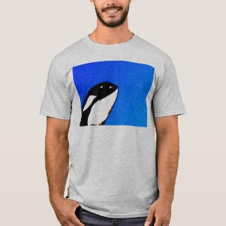 Orca Killer Whale Spy Hops on a Blue Starry Sky T-Shirt