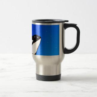 Orca Killer Whale Spy Hops on a Blue Starry Sky Travel Mug