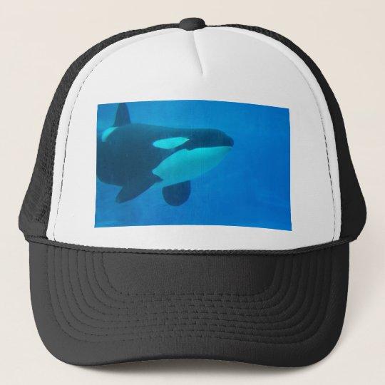 orca killer whale underwater blue trucker hat