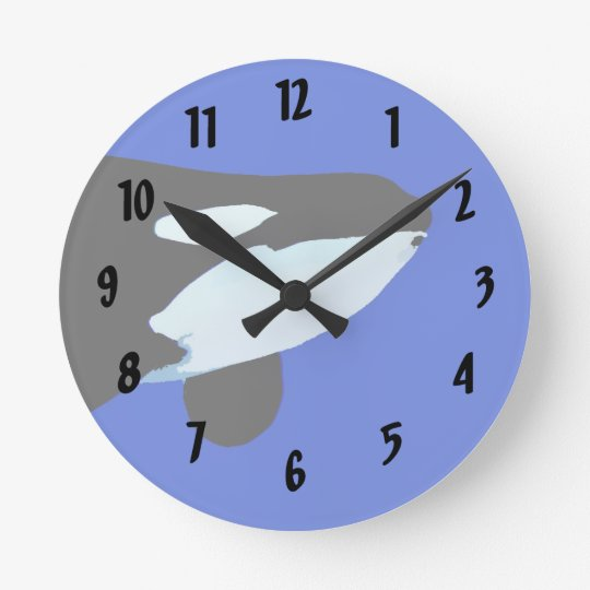 orca killer whale underwater graphic round clock