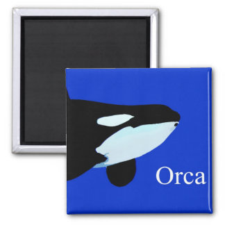 orca killer whale underwater graphic txt 2 inch square magnet