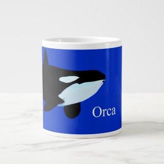 orca killer whale underwater graphic txt jumbo mugs