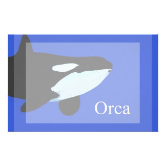 orca killer whale underwater graphic txt personalized stationery