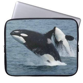 Orca Killer Whales Breaching Laptop Sleeve