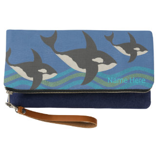 Orca Leather Look Blue And Green Aquatic Theme Clutch