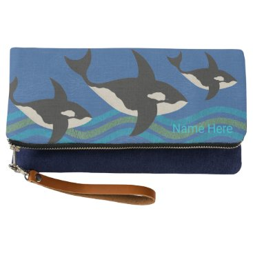 Beach Themed Orca Leather Look Blue And Green Aquatic Theme Clutch