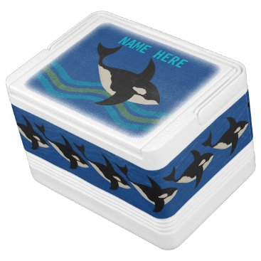 Beach Themed Orca Leather Look Picnic Day At The Beach Fun Drink Cooler