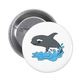 orca linda de la orca del dibujo animado pin redondo de 2 pulgadas