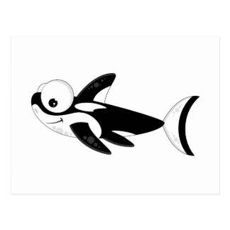 Orca linda del dibujo animado postales