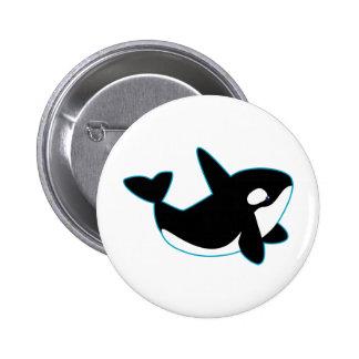 Orca linda (orca) pin redondo de 2 pulgadas