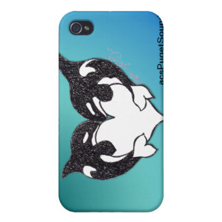 Orca Love on teal background iPhone 4 Cases