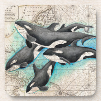 Orca Map Atlas Beverage Coaster