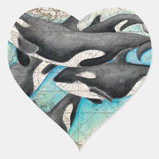 Orca Map Atlas Heart Sticker