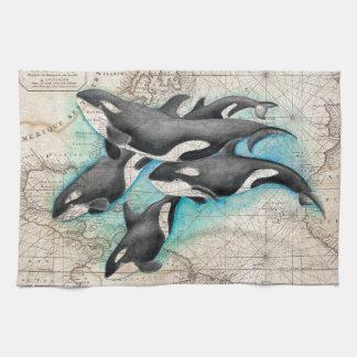 Orca Map Atlas Kitchen Towel