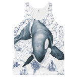 Orca Map Blue All-Over-Print Tank Top