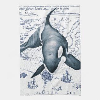 Orca Map Blue Kitchen Towel