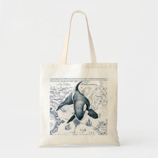 Orca Map Blue Tote Bag