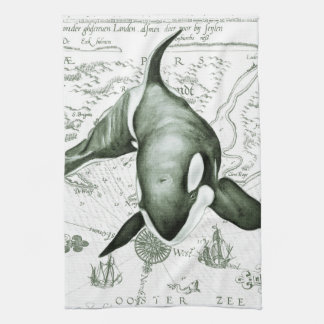 Orca Map Green Kitchen Towel