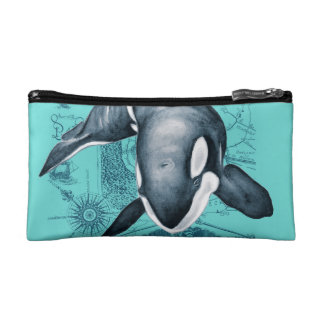 Orca Map Teal Cosmetic Bag