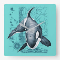 Orca Map Teal Square Wall Clock