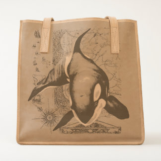 Orca Map Teal Tote