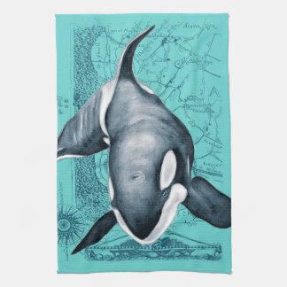 Orca Map Teal Towel
