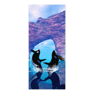 """Orca maravillosa que salta y que juega invitación 4"""" x 9.25"""""""