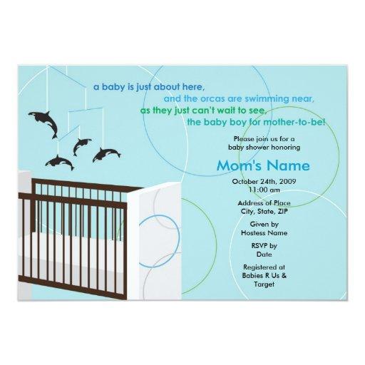 "Orca Mobile and Crib Flat Baby Shower Invitation 5"" X 7"" Invitation Card"