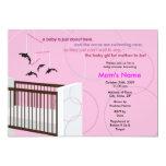 "Orca Mobile Girl Crib Flat Baby Shower Invitation 5"" X 7"" Invitation Card"