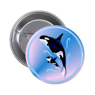 Orca Mom and Baby Button