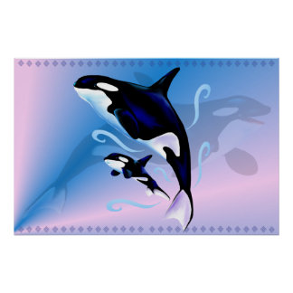 Orca Mom and Baby Print