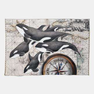 Orca Nautical Compass Kitchen Towel