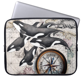 Orca Nautical Compass Laptop Sleeve