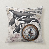 Orca Nautical Compass Throw Pillow