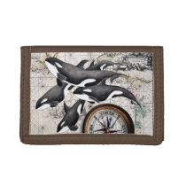 Orca Nautical Compass Tri-fold Wallet