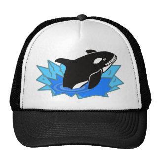 Orca/orca del dibujo animado que salta del agua gorra