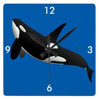 Orca, orca del Orcinus Reloj Cuadrado
