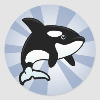 Orca/orca lindas pegatina redonda