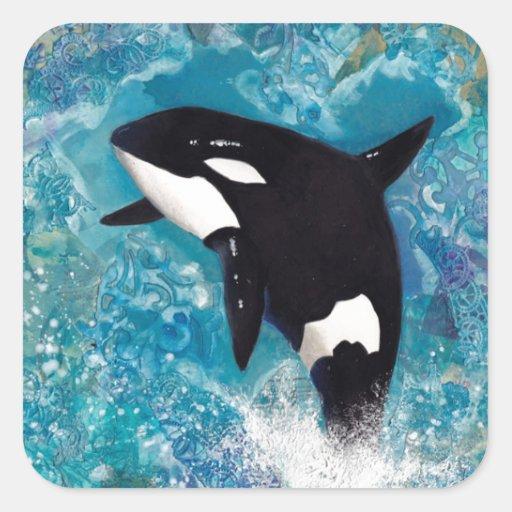Orca Pegatina Cuadrada
